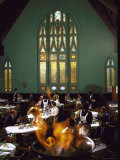 Diners Eating Underneath Stained Glass Windows at Market Place Restaurant  Former Episcopal Church