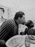James Davis Kissing His Pet Chimpanzee
