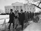 New Pres John F Kennedy and Wife Jacqueline Kennedy and Others Walking to His Inauguration