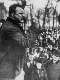 Pres Theodore Roosevelt Speaking to Crowd During Campaign