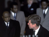 Pres of Ghana Kwame Nkrumah Meeting W Us Pres John F Kennedy to Discuss the Situation in Africa