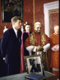 US Pres Kennedy Meeting with Newly Crowned Pope Paul VI in the Pontiff's Library