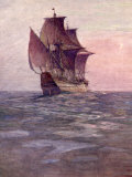 Painting of the Mayflower  Ship That Carried Pilgrims from England to New England Shore of America