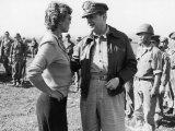 Korean War Correspondent Marguerite Higgins Speaking W General Douglas Macarthur