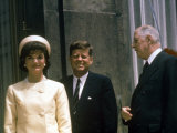 President John F Kennedy and Wife Jacqueline Visiting W French Pres Charles De Gaulle in Paris