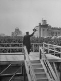 Emperor Hirohito Standing on Platform and Waving to the Crowd