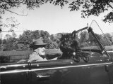 President Franklin D Roosevelt Driving in His Convertible with His Dog Fala Through Hyde Park