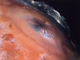 Volcanic Eruptions of Pele on Moon Io Taken by Spacecraft Voyager 2