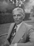 Indian Statesman Mohammed Ali Jinnah Sitting in His Garden
