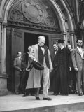 Winston Churchill and James B Conant Emerging from Memorial Hall at Harvard University