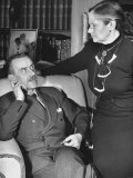 German-Born Us Writer Thomas Mann Talking with His Wife in their Home