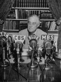 President Franklin D Roosvelt  Broadcasting a Speech over the Radio from the White House