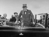 British Prime Minister Winston Churchill Entering a Limousine