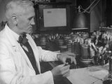 Prof Alexander Fleming Working in Laboratory