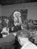 Indian Chief Speaking to Army Officers About the Construction of Garrison Dam