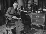 German-Born Us Writer Thomas Mann Sitting at His Desk