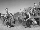 Cadets Running Through Obstacle Course During Training at a Us Navy Air Base