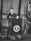 President Harry S Truman Making a Speech in an Opera House after His Wake Island Trip