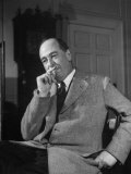 Educator C S Lewis Dragging on Cigarette During Interview