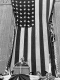 President Harry S Truman Speaking Against Flag Backdrop During His Re-Election Campaign