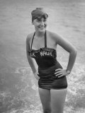"Swimmer Shirley May France  Standing in the Ocean Wearing Her ""Black Magic"" Swimsuit"