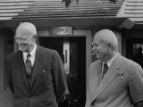 Pres Dwight D Eisenhower with Nikita S Khrushchev