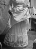 Bride Barbara Alvin Putting a Borrowed Petticoat for Her Wedding