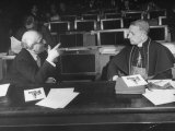 Salvador De Madariaga Having a Conversation with Papal Nuncio Monsiegneur Fernando Cento