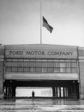 With Flag at Half Staff  the Ford Plant Is Deserted for Henry Ford's Funeral