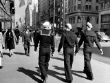 Three Sailors Walking on Fifth Avenue in Midtown