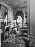 Madam Elsa Schiaparelli Enjoying Her Study Which Is Filled with Treasures and Paintings