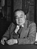Japanese Premier Shigeru Yoshida Sitting Behind Desk