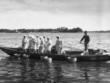 Mikimoto Pearl Divers Throwing Tubs into Water from Boat before Going under to Work