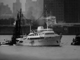 Tug Boat Maneuvering Onassis Yacht 'Christina' in Hudson River