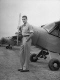 Brazilian Industrialist Francisco Pignatari Visiting an Airplane Factory