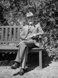 Art Critic Bernard Berenson Sitting on Bench at His Villa Near Florence  I Tatti
