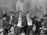 Chesty Glassworkers Drawing Back their Jackets and Displaying Insignia  During the Cio Convention