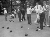 Members of St Mary&#39;s Society Club Play the Italian Game of Bocce on their Court Behind the Club