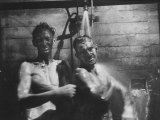 Coal-Blakened Rescue Miners Showering after Mine Disaster
