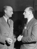 Reinhold Niebuhr Talking with the Mayor of Darmstadt  Germany Prof Ludwig Metzger