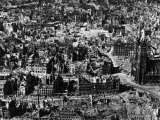 Aerial View of Bomb-Damaged Buildings after an Allied Air Attack on the Devastated City