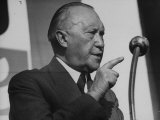 German Konrad Adenauer  During His Pre-Election Speech