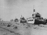 British Matilda Ii Heavy Infantry Tanks Moving across the Desert Near Tobruk