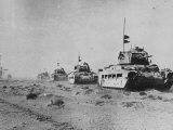 British Matilda Ii Heavy Infantry Tanks Moving across the Desert Near Tobruk