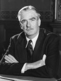 British Foreign Secretary Sir Anthony Eden Sitting at His Desk with His Arms Folded