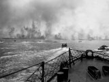 US Marines in Landing Craft Approaching Peleliu Island to Attack Occupying Japanese Forces There