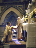 Cardinal Stritch Elevating Chalice after Transubstantiation During Mass