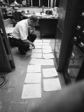 Cartoonist Herb Block Working in Office at the Washington Post