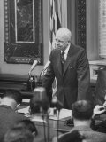 Dwight D Eisenhower  Talking to Reporters  During TV Press Conference