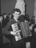 Science Student Playing the Accordian